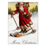 Merry Christmas Santa Skiing Card