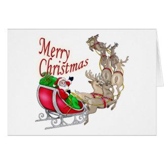 Merry Christmas Santa Sleigh and Reindeer Card