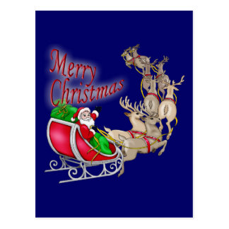 Merry Christmas Santa Sleigh and Reindeer Postcard