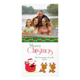 Merry Christmas santa sleigh family photo card