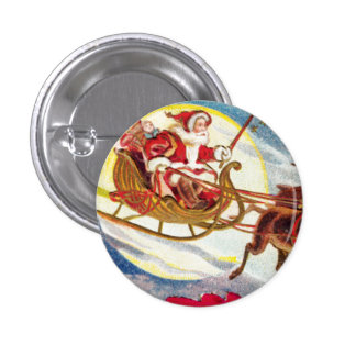 Merry Christmas Santa Sleigh Pinback Button
