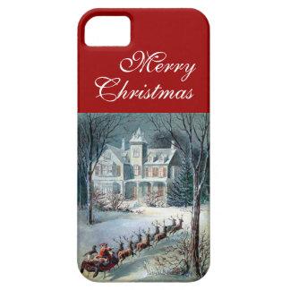 Merry Christmas Santa Sleigh Snow and House Scene iPhone SE/5/5s Case