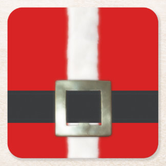 Merry Christmas Santa Suit Square Paper Coaster