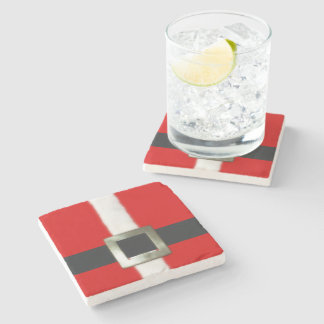 Merry Christmas Santa Suit Stone Coaster