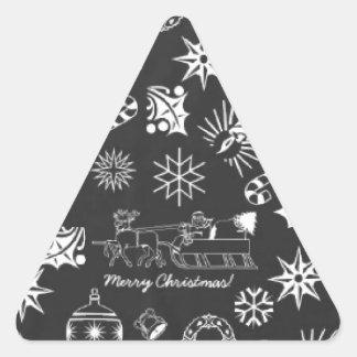 Merry Christmas Santa Symbols, Black and White Triangle Sticker