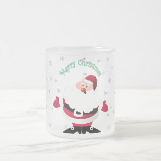 Merry Christmas Santa transparent background Frosted Glass Coffee Mug