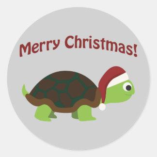 Merry Christmas! Santa Turtle Classic Round Sticker