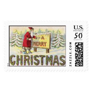 Merry Christmas Santa Vintage Christmas Stamp