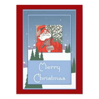 Merry Christmas: Santa with Christmas Pudding Card