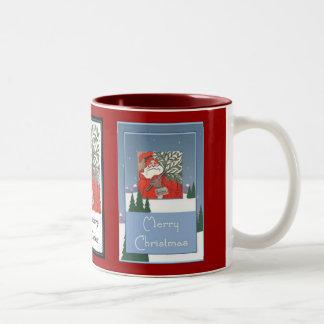 Merry Christmas - Santa With Christmas Pudding Two-Tone Coffee Mug