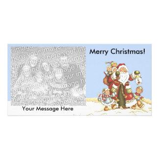 Merry Christmas Santa With Kids Snow Lantern Card