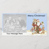 Merry Christmas Santa With Kids Snow Lantern Holiday Card