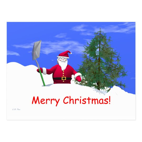 Merry Christmas Santa with Shovel Postcard