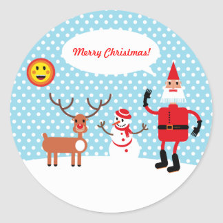 Merry Christmas says Santa Claus Round Stickers