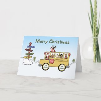 Merry Christmas School Bus card