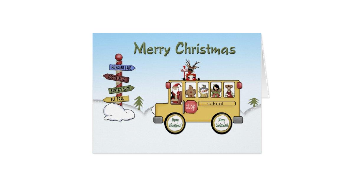 Merry christmas school bus card zazzle