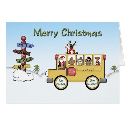 Merry Christmas School Bus Greeting Card