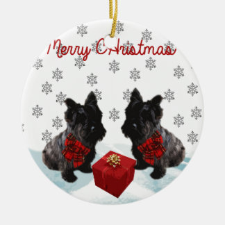Merry Christmas Scottie Dog and Snowflakes Ceramic Ornament