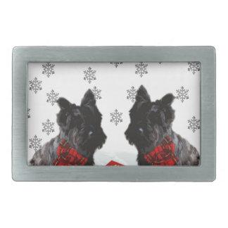 Merry Christmas Scottie Dog and Snowflakes Rectangular Belt Buckle