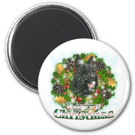 Merry Christmas Scottie Refrigerator Magnet