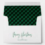 Merry Christmas Script 5x7 Green Buffalo Plaid Envelope