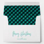 Merry Christmas Script 5x7 Teal Buffalo Plaid Envelope