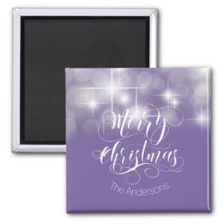 Merry Christmas Script and Stars ID194 Magnet