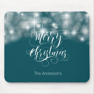 Merry Christmas Script and Stars ID194 Mouse Pad