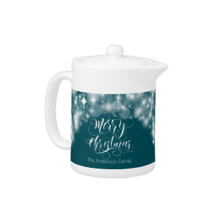 Merry Christmas Script and Stars ID194 Teapot