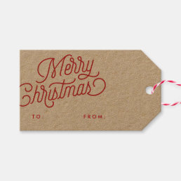 Merry Christmas Script Holiday Gift Tag