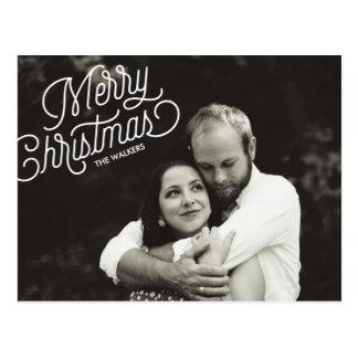 Merry Christmas Script Holiday Photo Postcard