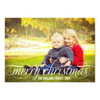 Merry Christmas Script Overlay | Photo Collage 5x7 Paper Invitation Card