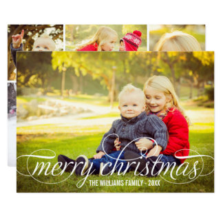 Merry Christmas Script Overlay | Photo Collage Card