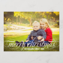 Merry Christmas Script Overlay | Photo Collage Holiday Card