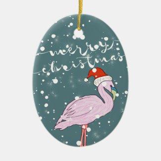 Merry Christmas Script Pink Flamingo Tropical Ceramic Ornament
