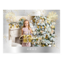 Merry Christmas Script Silver Gray Gold Lux Snow Postcard