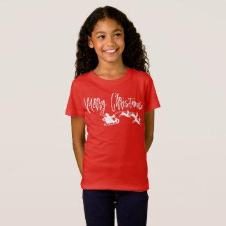 Merry Christmas Script Text Santa Sleigh Graphic T-Shirt