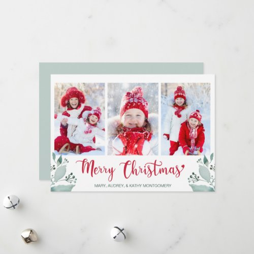 Merry Christmas Script Watercolor Leaf 3 Photo Holiday Card
