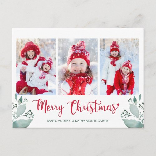 Merry Christmas Script Watercolor Leaf 3 Photo Holiday Postcard