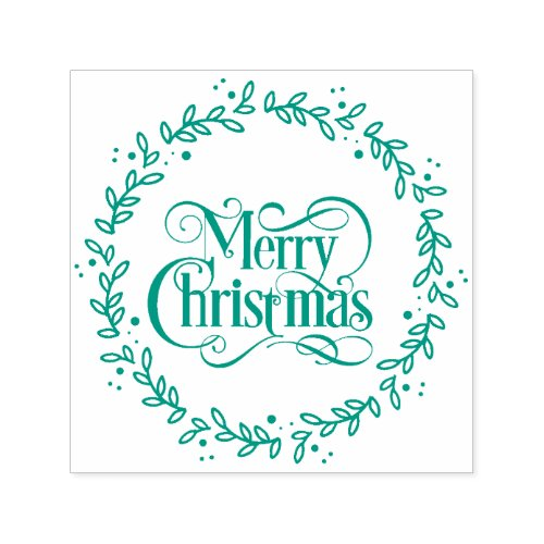 Merry Christmas Script Wreath Botanical Holiday Self_inking Stamp