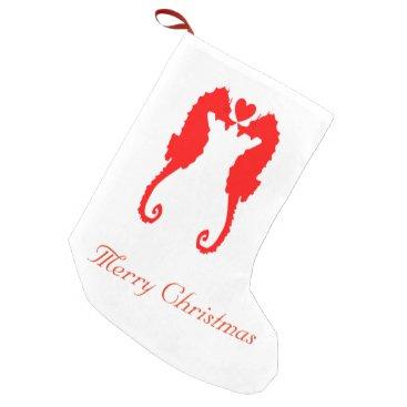 Beach Themed Merry Christmas Seahorse & Heart Small Christmas Stocking
