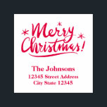 """Merry Christmas self inking stamp with red ink<br><div class=""""desc"""">Merry Christmas self inking stamp with red ink. Custom rubber stamp with personalized address and winter Holiday wishes. Elegant hand lettered script calligraphy typography design with template for your name and address. Pretty swirly handwriting with little stars. Handwritten seasons greeting with return address. Classy DIY xmas accessories for home and...</div>"""