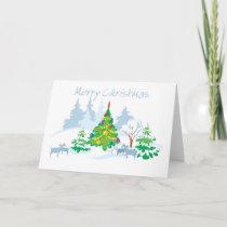 Merry Christmas Serene Goats Holiday Card