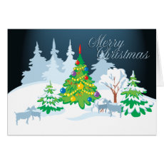 Merry Christmas Serene Goats Night Time Card