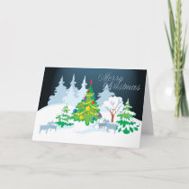 Merry Christmas Serene Goats Night Time Holiday Card