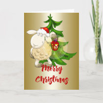 Merry Christmas Sheep Holiday Card