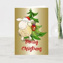 Merry Christmas Sheep Holiday Card