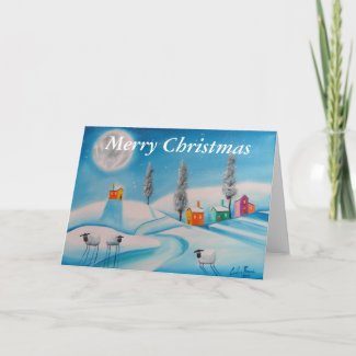 Merry Christmas sheep moon Holiday Card
