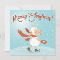 Merry Christmas Sheep Skater Holiday Card