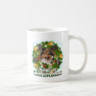 Merry Christmas Sheltie Classic White Coffee Mug